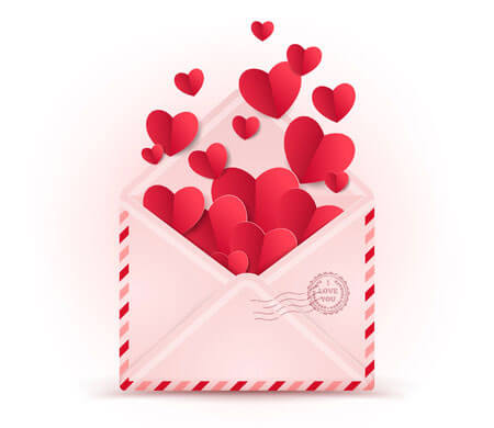 Envelope with Paper Hearts